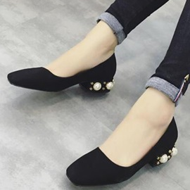 Nubuck Leather Slip-On Square Toe Women's Flats