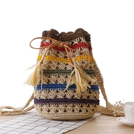 Weave Drawstring Tassel Backpack