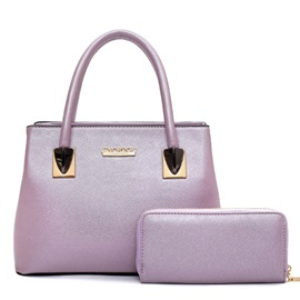 Graceful Pure Color Zipper 2 Pieces Bag Set
