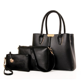 High Quality Solid Color PU Women Bag Set(3 pieces)