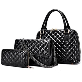 Classic Plaid Pattern Women's Bag Set ( Three Bags )