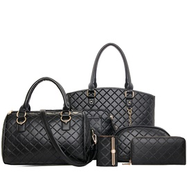 Plaid Embossing Pure Color Women's Bag Set ( Six Bags )