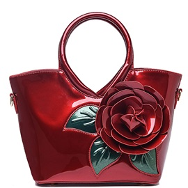 Sweet Big Flower Pattern Leather Satchels