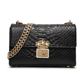 Pearl Double Leaf Crco Skin with Chain Shoulder Bag