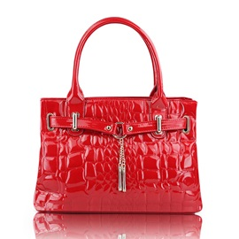 Patent Leather Croco Embossed Satchel