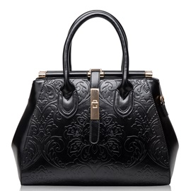 Graceful Chinese Embossed Style Women's Satchel