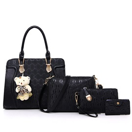 European O Chain Embossed Zipper 4 Pieces of Bag Sets