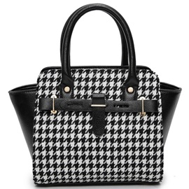 Elegant Houndstooth Patchwork Women Satchel