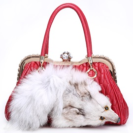 Lastest Fur Decorated Lambskin Women Satchel