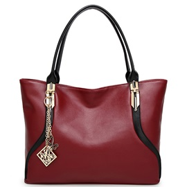 Temperament Color Block Tassel Women Satchel
