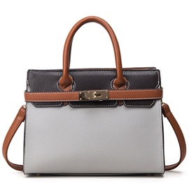 Lastest Color Block Platinum Women Satchel