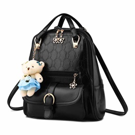 Cute Pendant Decorated Embossing Women's Backpack
