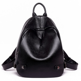 Pure Litchi Skin Zipper Bottom Backpack