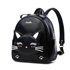 Simple Cool Cat Embroidery Travel Backpack