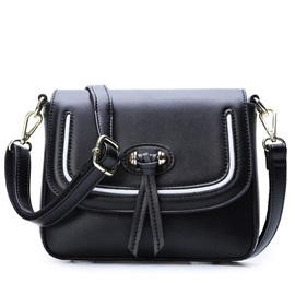 Snap-cover Pu Thread Women Crossbody Bag