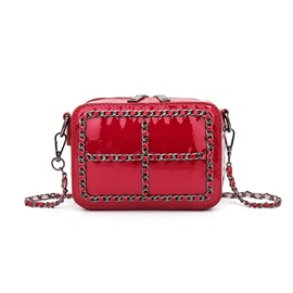 Trendy Solid Color Chain Decorated Crossbody Bag