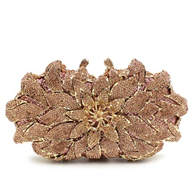 Special Flower Style Design with Shiny Rhinestone Decor Women's Clutches