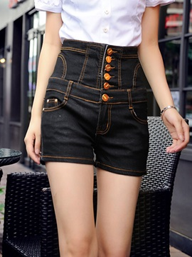 Delicate Single-Breasted Lace-Up Short