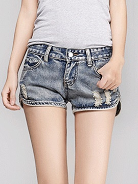 Skinny Frayed Side-Slit Denim Short