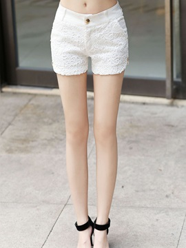 Solid Color Button Lace Shorts