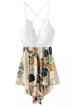 Stylish Cotton Blends Backless Printing Romper