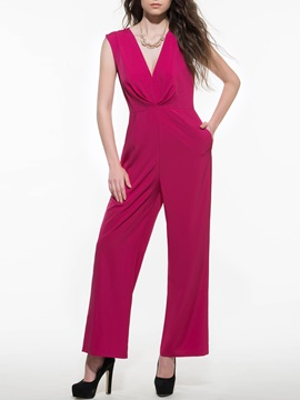Solid Color Chiffon V-Neck Pleated Jumpsuit