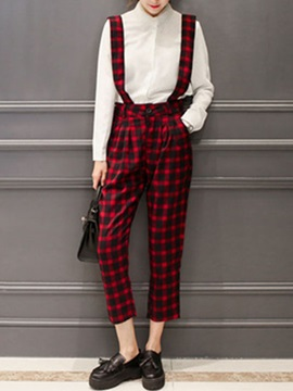 Elegant Plaid Printed Straight-Leg Overall
