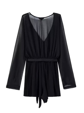Simple Lace-Up See-Through Romper