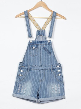 Simple Stripe Frayed Flanging Overall