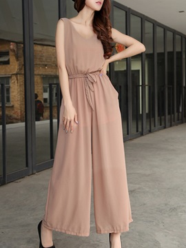 Simple Sleeveless Lace-Up Jumpsuit