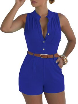 Solid Color Buckle Women Rompers