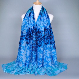 Bold Color Pattern Printed Voile Scarf