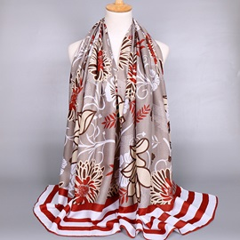 Stripe and Flowers Printed Scarf for Women