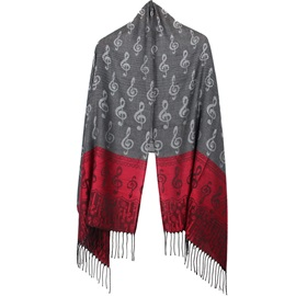 Colorful Musical Note Pattern Tassels Scarf