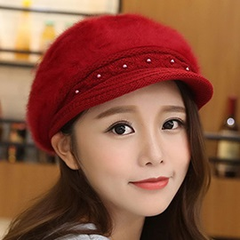 Sweet Warm Female Fur Beret Hat