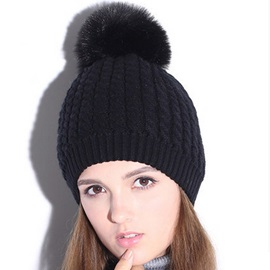 Pure Color Pompon Design Knitted Hat