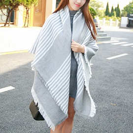 Gray and White Fringed Scarf/Shawl