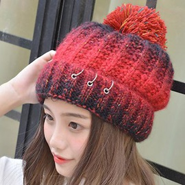 Three Ring Design Color Block Women's Kintted Hat