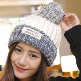 Applique Design Colorful Woolen Yarn Knitted Hat