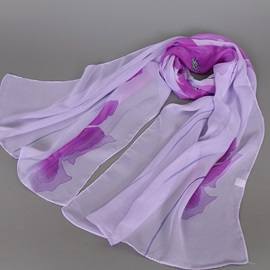 Classic Flowers Printed Chiffon Women's Scarf