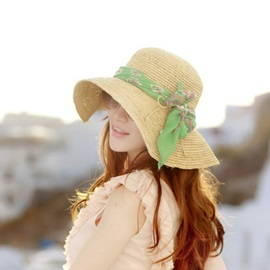 Fashion Straw-weaved with Scarf Sun Hat