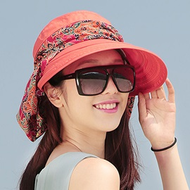 Floral Pattern Polyester Uv Protection Sun Hat