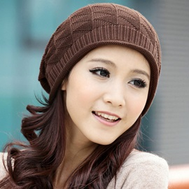 Rhombus Lattice Design Women's Knitted Cap