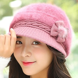Cute Bowknot Embellished Knitted Hat