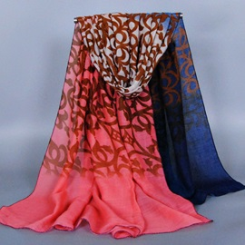 Gradient Color Pattern Printed Voile Scarf