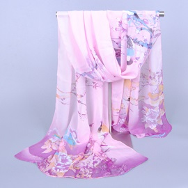 Chinese Style Flowers Magpie Chiffon Scarf