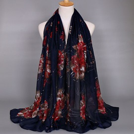 Hot Sale Big Flowers Voile Scarf