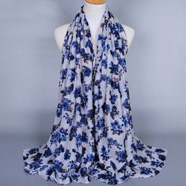 Graceful Cotton Flowers Printed Women's Scarf