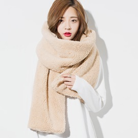 Warm Furry Solid Color Scarf