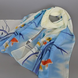 Chinese Painting Printed Design Chiffon Scarf